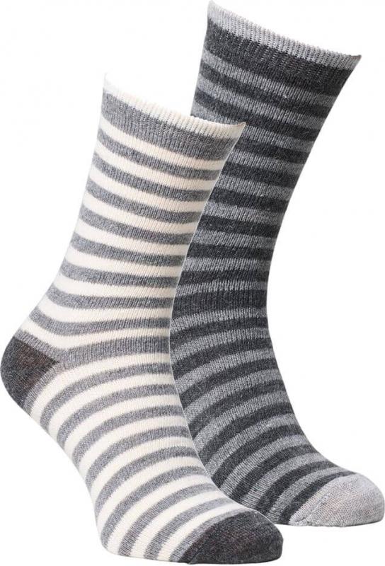 fellhof Alpaka-Socken gestreift für Kinder, 2er Pack